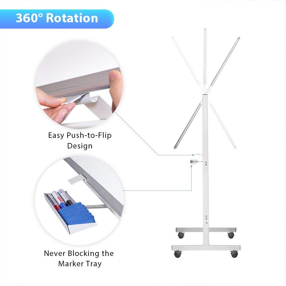 Whiteboard auf Rollen Aluminiumrahmen Whiteboard Magnetisches mobiles Whiteboard 100 x 60 cm trocken abwischbar doppelseitig