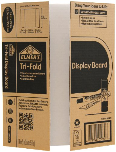 Elmer's Mini Corrugated Tri-Fold Display Board, 14 x 22 Inches, White with Kraft Backing (730109)