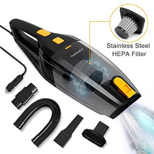 Nefeeko Handheld Car Vacuum Cleaner High Power 5000-5500pa Strong Suction Portable Corded Auto Vacuum Cleaner 60db Low Noise for Wet & Dry Use, Stainless Steel HEPA Filter 12V 120W