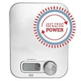 Battery Free Digital Kitchen Scale, Just Twist the Dial for Power by Kinetic Power Scales, Measures food and liquids, oz, lbs, grams, kgs