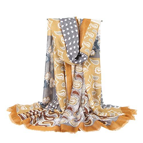 Women Classy Cotton Linen Paisley Print Long Scarf Shawls Wraps - Elegant Yellow - Linen Cotton Prints Scarf