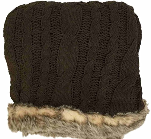 NorthCrest Home Chocolate Brown Cable Knit Chenille Throw Blanket with Fur ()