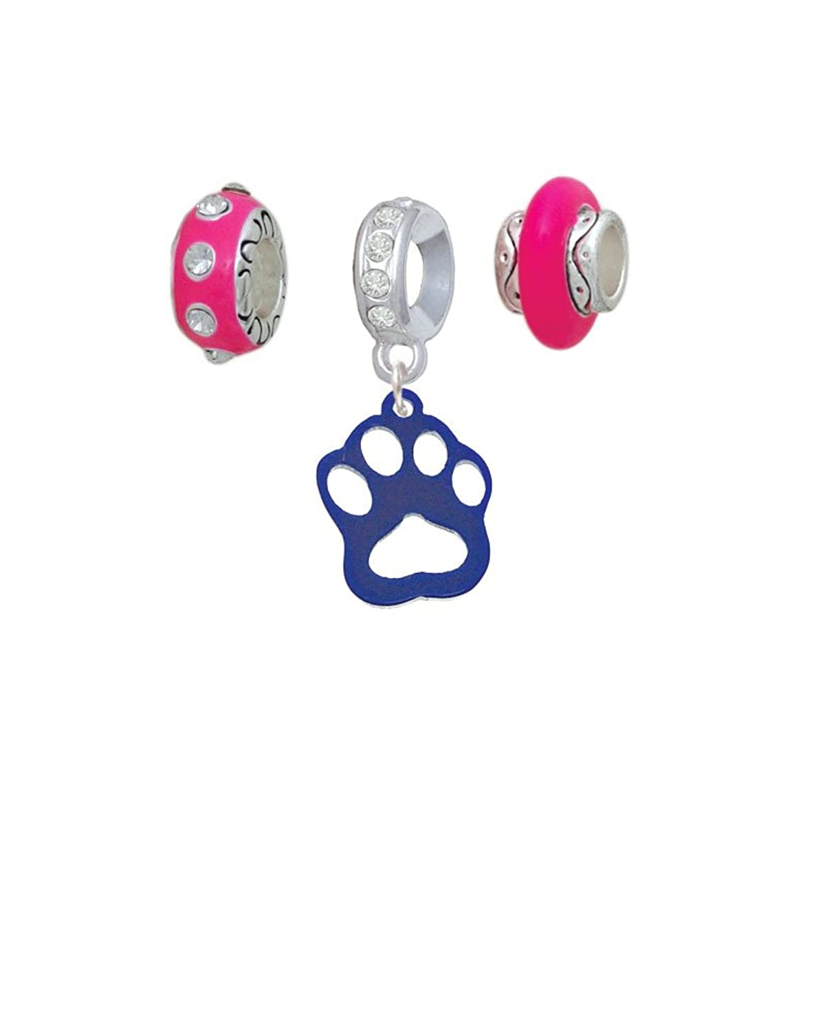 Acrylic Small Paw Hot Pink Charm Beads (Set of 3)