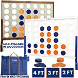 Giant 4 in A Row, 4 to Score with Bag by Rally and Roar – CHOOSE 2', 3', OR 4' White OR Wood Grain – Premium Wooden Four Connect Game Oversized Family Outdoor Party Games for Backyard, Lawn, Parties