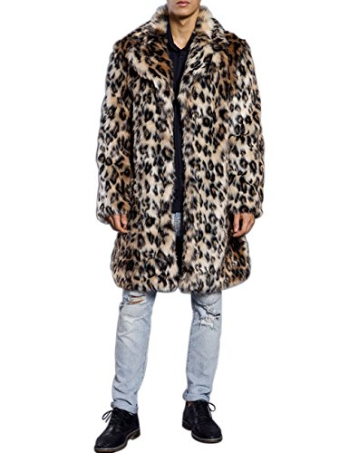 ZLSLZ Mens Winter Warm Leopard Faux Fur Long Length Luxury Outerwear Coat Jacket Brown US M Tag XL