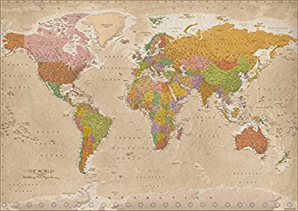 Amazon vintage map of the world giant xxl poster print vintage map of the world giant xxl poster print highly detailed world map gumiabroncs Image collections
