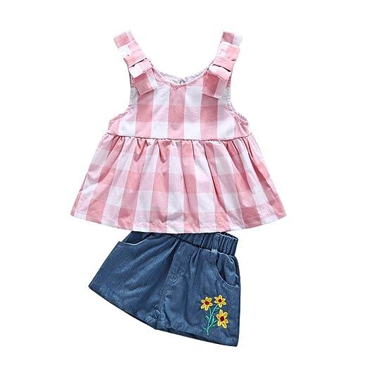 7236a62706dd Amazon.com  Miwear Toddler Summer Outfits Baby Girls Plaid Ruffle ...