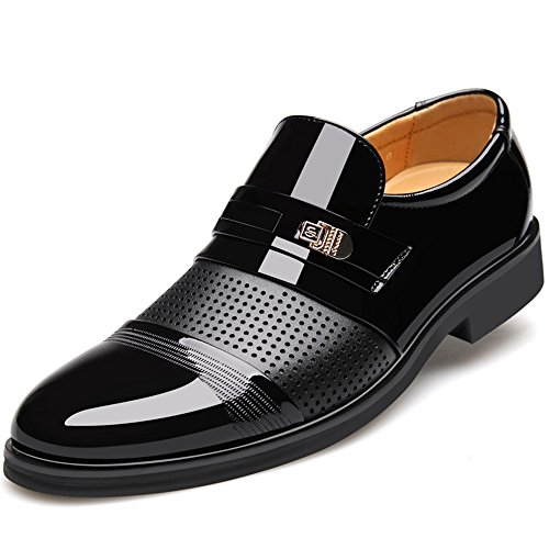 Seakee Men's Slip On Oxford Shoes Breathable Business Dress Shoes Black US 12 by Seakee