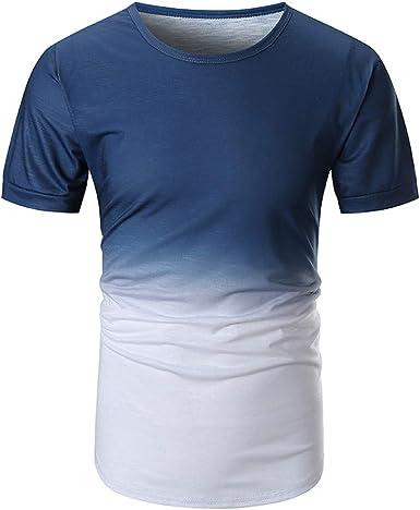 Worsworthy Camisa de Hombre Gradient Color Stitching Plus ...