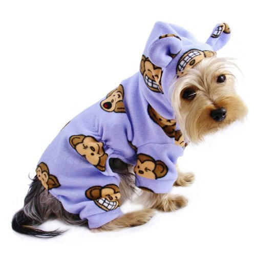 Adorable Silly Monkey Fleece Dog Pajamas   Bodysuit with Hood color  Lavender, Size  Small