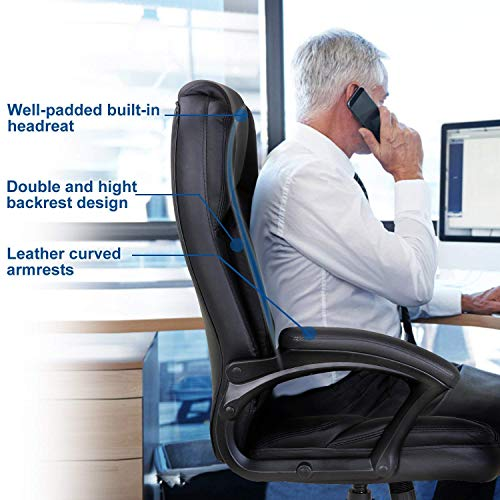 LCH High Back Executive Office Chair with Adjustable Tilt Angle - PU Leather Computer Desk Chair with Thick Padding for Comfort and Ergonomic Design for Lumbar Support by LCH (Image #7)