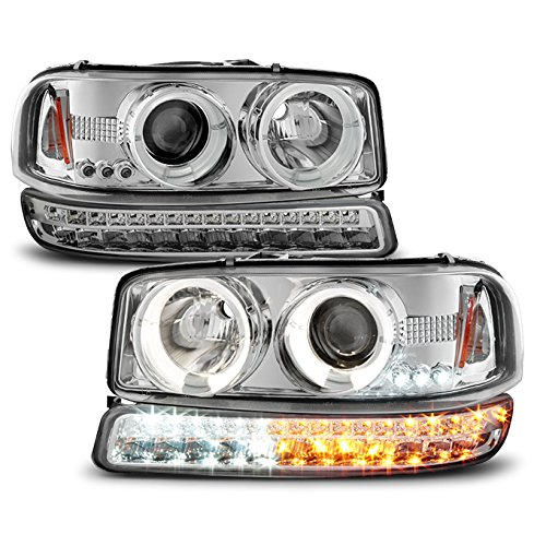 For 1999-2006 GMC Sierra | Yukon Replacement LH + RH Halo Projector Head Lights + LED Bumper Lights Pair