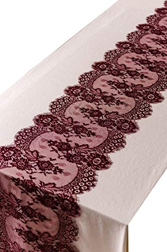 "Crisky 14"" x 120"" Burgundy Lace Table Runners Lace Overlay with Rose Vintage Embroidered, Thin, Rustic Romantic Wedding Decor, Bridal Baby Girl Shower Decoration"