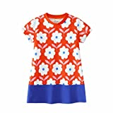 Little Girls Dress Short Sleeves Organic T-Shirt colorful Floral Prints 2t-6t (6-7 Years, Orange)