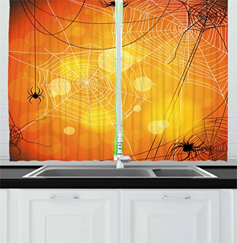 Halloween Kitchen Curtains by Ambesonne, Spiders Arachnid Insects Cobweb Thread Trap on Abstract Bokeh Backdrop, Window Drapes 2 Panel Set for Kitchen Cafe, 55 W X 39 L Inches, Orange Yellow White