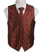 EGD1B.02 Multi Style Paisley Microfiber Mens Tuxedo Vest Neck Tie Set By Epoint