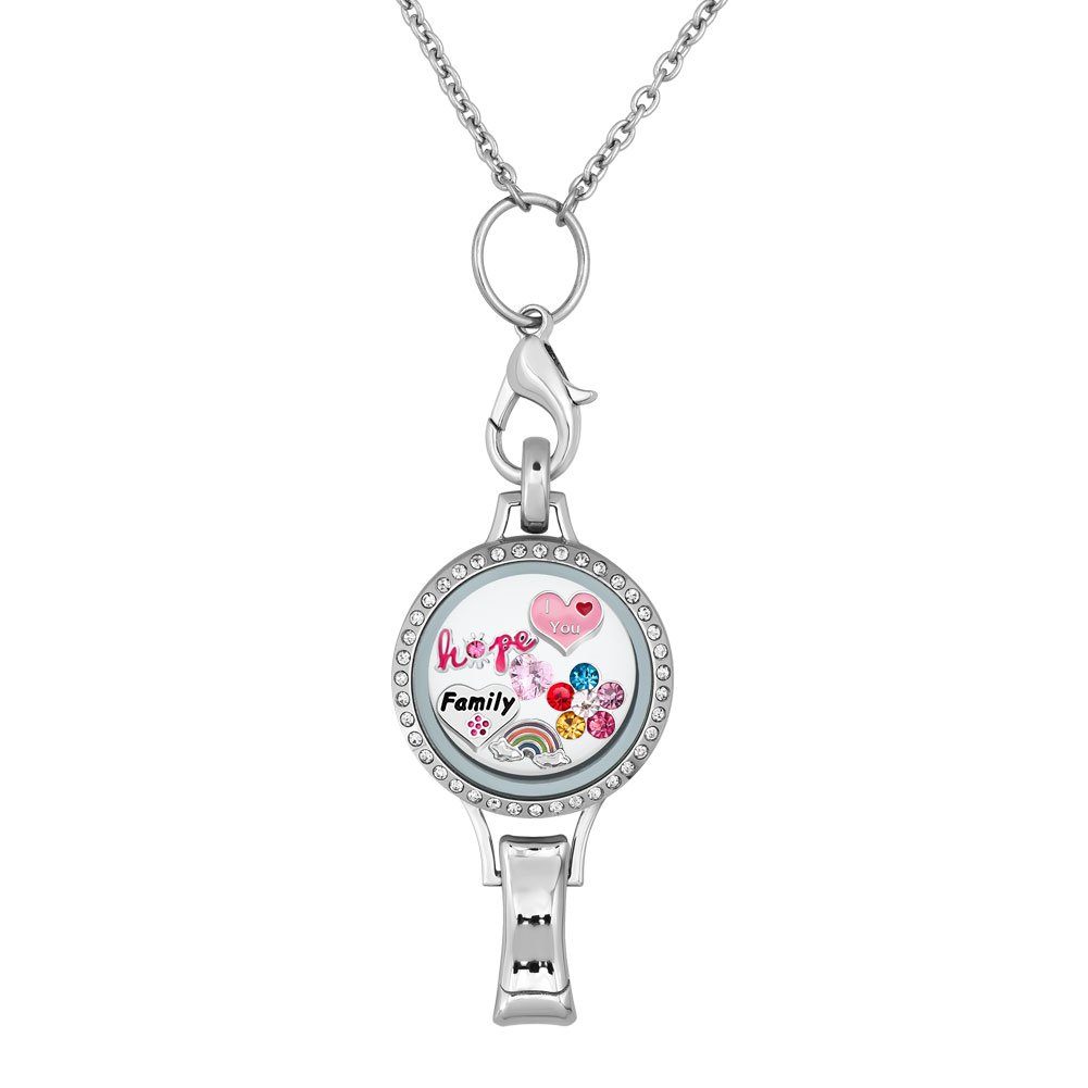 Q&Locket RN Love Family Christmas Tree Snowflake Floating Charms In Glass Locket Lanyard Necklace ID Badge Holder (Love Family)