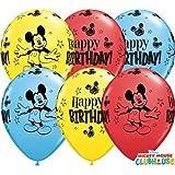 "Mickey Mouse Happy Birthday 11"" Qualatex Latex Balloons x 10"