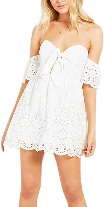 BXX@# el Verano Un hombro Vestido,Algodón Bordado Escotado por ...