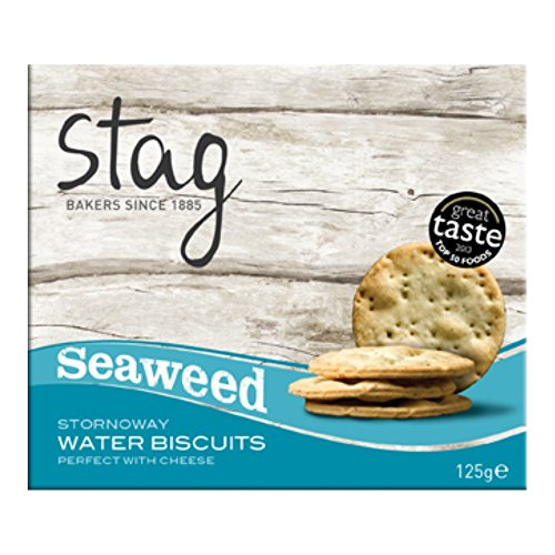 Stag Cocktail Water Biscuits with Seaweed 125 g (Pack of 6)