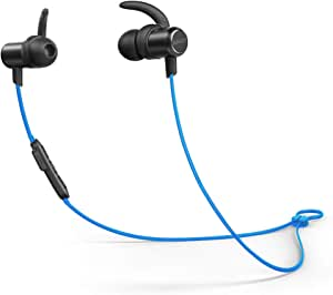 Anker Soundbuds Slim Wireless Headphones, Bluetooth 4.1 Lightweight Stereo Earbuds With Magnetic Connection, Nano Coating Sweatproof Sports Headset With Metallic Housing & Built-In Mic (blue)