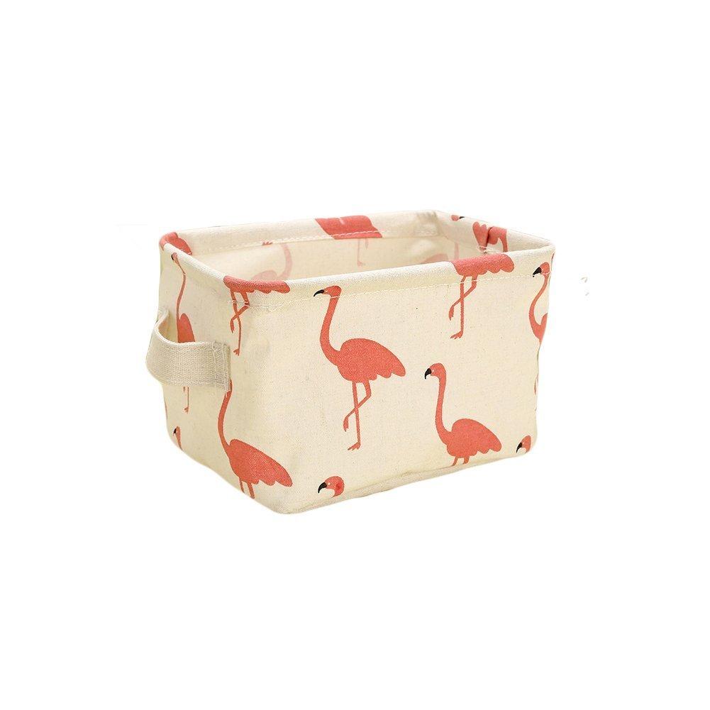 Westeng 1X Caja de almacenamiento de tela Mesa Organizador Cajón de tela Con mangos y Patrón de Flamingos para papelería y maquillaje(Blanco)