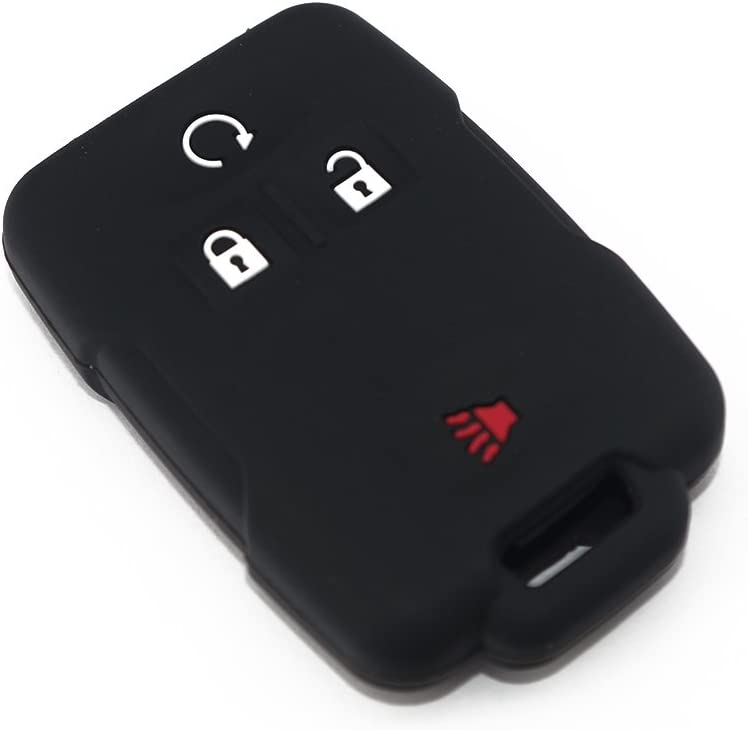 Hvasun Silicone Key Fob Cover 4 Button Keychain Fits 2014 2015 2016 2017 2018 Chevrolet Silverado Colorado Chevy GMC Canyon Sierra keyless Entry Smart Key