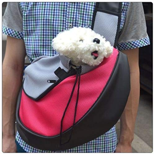 KEHAIYI Pet Carrier Cat Puppy Small Animal Dog Carrier Sling Front Mesh Travel Tote Shoulder Bag Backpack SL Fuchsia S