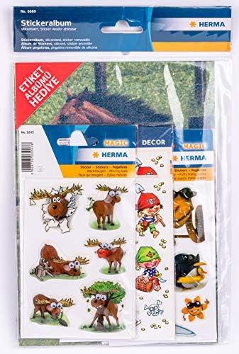Delfine Herma 6687 Stickeralbum Stickerbuch leer zum Sammeln f/ür Kinder Tiere 1 St/ück DIN A5 Format