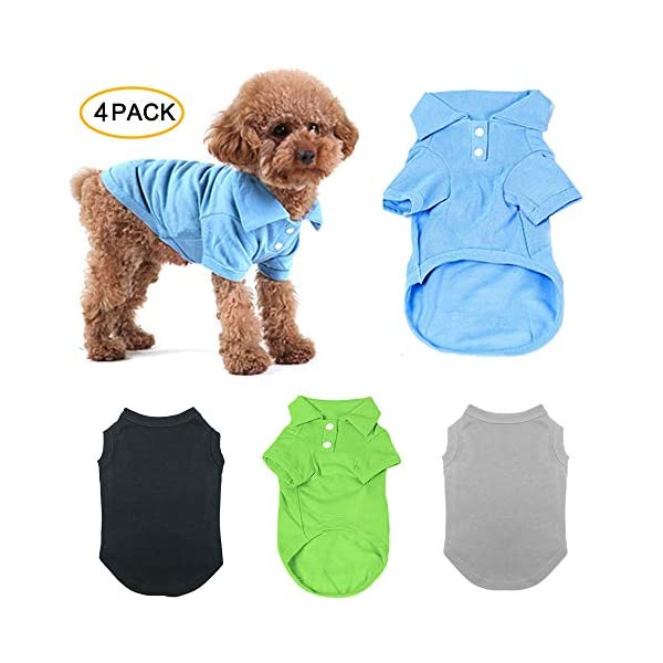 TOLOG 4 Pack Dog T-Shirt Pet Summer Shirts Puppy Clothes for Small Medium Large Dog Cat,Soft and Breathable Cotton Outfit Apparel