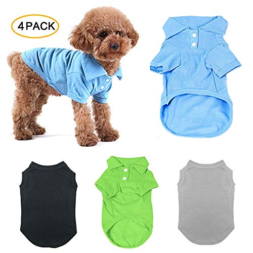 (TOLOG 4 Pack Dog T-Shirt Pet Summer Shirts Puppy Clothes for Small Medium Large Dog Cat,Soft and Breathable Cotton Outfit)