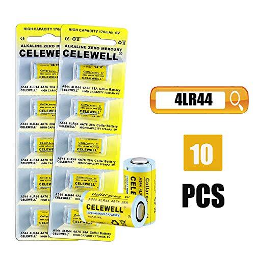 CELEWELL 10 Pack 4LR44 6V Battery 170mAh High Capacity for Bark Collars Camera 3-Year Warranty Same as 28A 4A76
