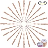 PandaHall Elite 150 PCS 5 Size BurlyWood Wooden Clothespins Photo Paper Peg Pin Craft Clips with Jute Twine and Decorative Adhesive Tape