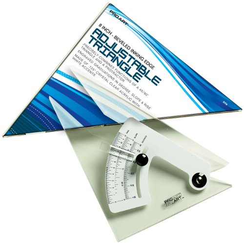 - PRO ART 10-Inch Triangle with Magnifier, Inking Edge