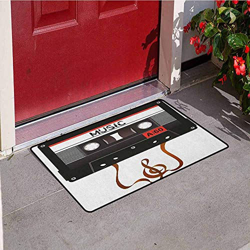 GloriaJohnson 70s Party Front Door mat Carpet Broken Analogue Audio Cassette Music Playing Record Vintage Technology Machine Washable Door mat W23.6 x L35.4 Inch Black White Gold