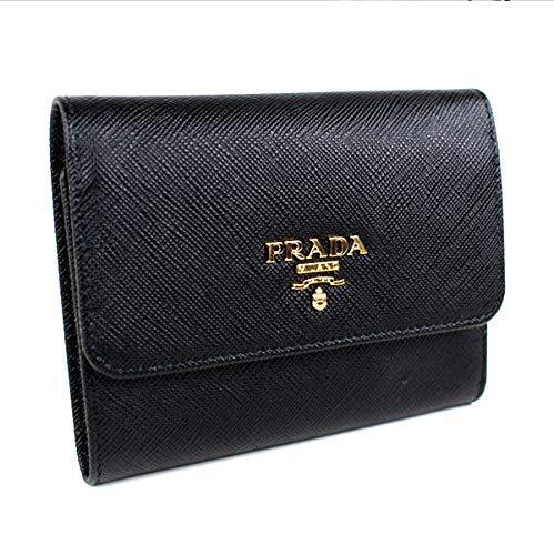 sale retailer 7cdc6 eb156 Amazon   (プラダ) PRADA 三つ折り財布 財布 サフィアーノ 黒 ...