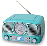 TechPlay QT62BT, Retro design compact stereo CD, with AM/FM rotary knob, Wireless Bluetooth reception, SD and USB ports. With AUX in and headphone jack (TURQOUISE) TechPlay