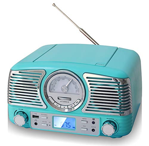 (TechPlay QT62BT, Retro Design Compact Stereo CD, with AM/FM Rotary knob, Wireless Bluetooth Reception, and USB Port. with AUX in and Headphone Jack (Turqouise))