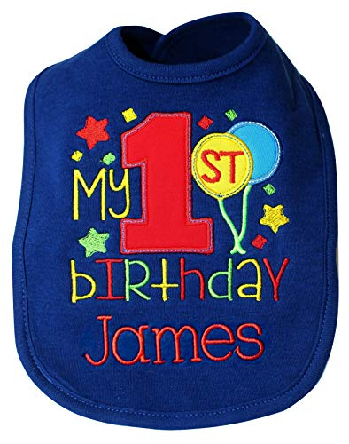 Embroidered Baby Boy's FIRST BIRTHDAY Smash Bib Personalized with CUSTOM Baby Name (Navy Blue - Birthday 1st Personalized Bib