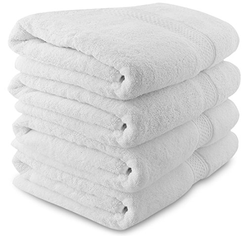 Towels Plus Cotton Hand Towel - Utopia Towels Premium White Bath Towels (4 Pack, 27 x 54 Inches) - Luxury Hotel and Spa White Towel Set - Soft and Highly Absorbent Towels