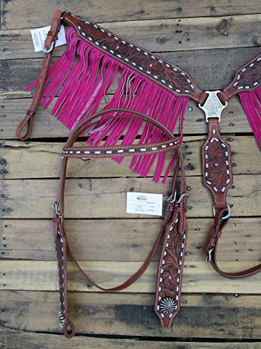 Pro Headstall Breast Collar Set Pink Fringe Leather Western Bridle
