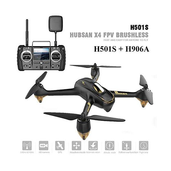 Hubsan H501S X4 Brushless Droni GPS 1080P HD Fotocamera FPV con H906A Trasmettitore Nero PRO Versione(2 batterie di Droni) 2 spesavip