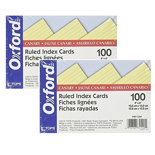 Oxford Colored Index Cards - Oxford Colored Ruled Index Cards Canary 100/ pack (4
