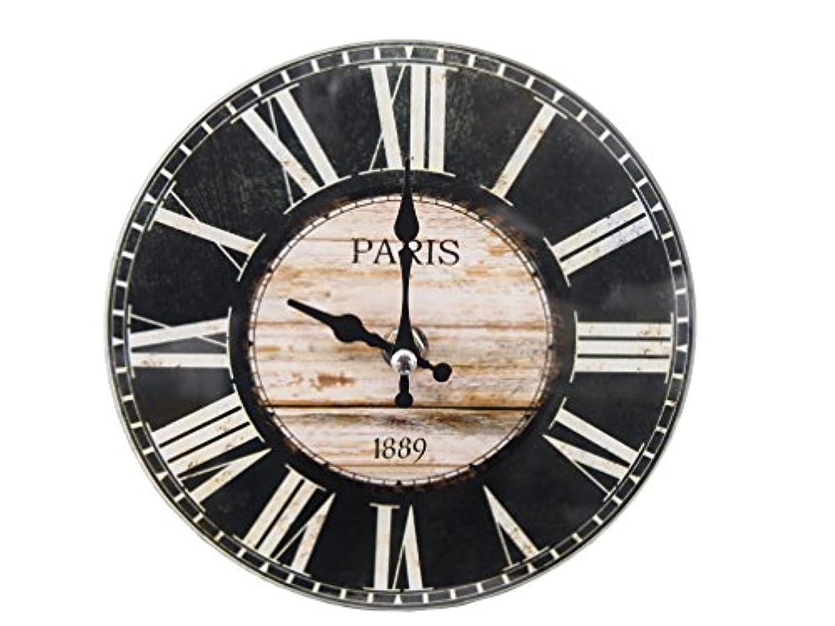 [해외] PEARL METAL 탁상 유리 시계 탁상시계 벽시계 겸용 ROUND 17CM 13A1301 N-8190