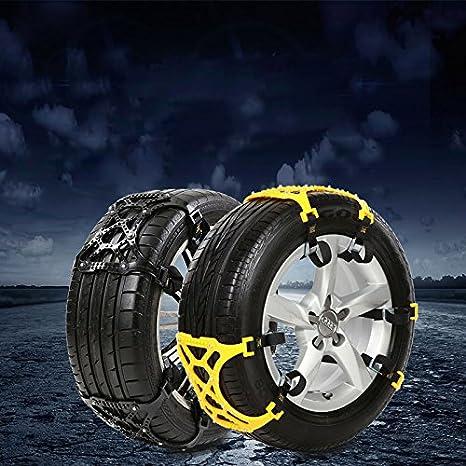 Sedeta® Cadena de seguridad para vehículos Todoterreno Seguro Cadenas de ruedas de neumáticos para nieve Espesamiento de emergencia Cinturón antideslizante ...