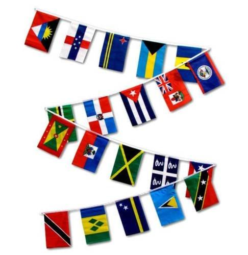Moon Knives 30ft String Flag Set of 20 Caribbean Country 12x18 Bunting Flag Banner Flags - Party Decorations Supplies For Parades - Prime Outside, Garden, Men Cave Decor Flag