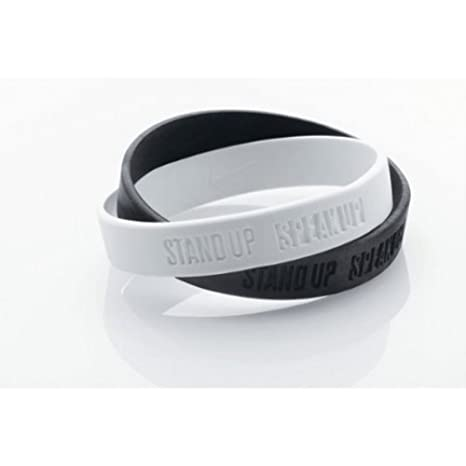 Nike Stand Up Speak Up Bracelet Double, Taille  Adulte, en Silicone Effet  Cuir, Noir et Blanc, Power Bracelet Amazon.fr Sports et Loisirs