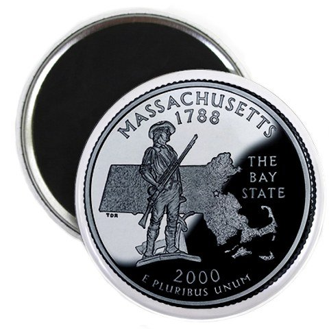 Massachusetts State Quarter Mint Image 2.25 inch Fridge Magnet