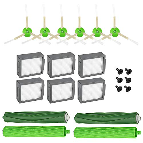 iSingo Replacement Parts Compatible iRobot Roomba i7 and i7+ Replenishment Kit (6 High-Efficiency Filters, 6 Edge-Sweeping Brushes, 2 Set of Multi-Surface Rubber Brushes) ()