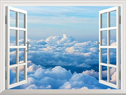 Removable Wall Sticker Wall Mural Sea of Clouds Creative Window View Wall Decor